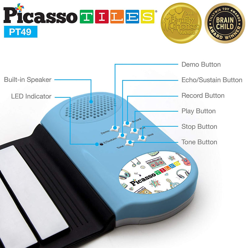 Australia PicassoTiles® PT49 Kid's 49-Key Flexible Roll-Up Educational Electronic Digital Music Piano Keyboard w/ Recording Feature, 8 Different tones, 6 Educational Demo Songs & Build-in Speaker - Blue