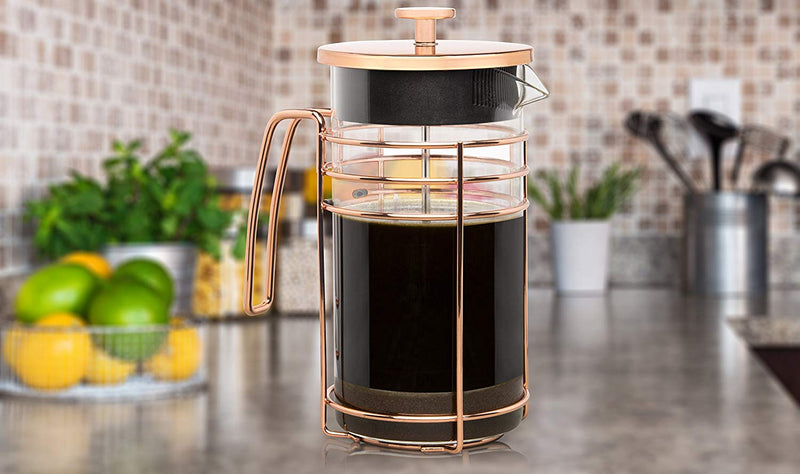 Australia Cantankerous Chef Rose Gold French Press - Large 8 Cup Coffee Press - Best Coffee Maker - Elegant Original Finishing - Sturdy Small Mesh Filter Borosilicate Glass With 3-part Stainless Steel Plunger