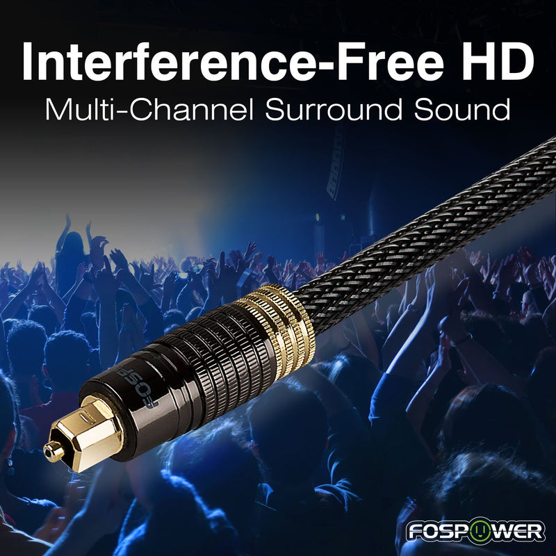 Australia FosPower (10 Feet) 24K Gold Plated Toslink Digital Optical Audio Cable (S/PDIF) - [Zero RFI & EMI Interference] Metal Connectors & Ultra Durable Nylon Braided Jacket
