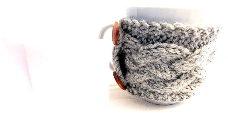 Integrity Designs Handmade Coffee Cup Sleeve Mug Cozy Gray and 3 inch Gift Card with Envelope