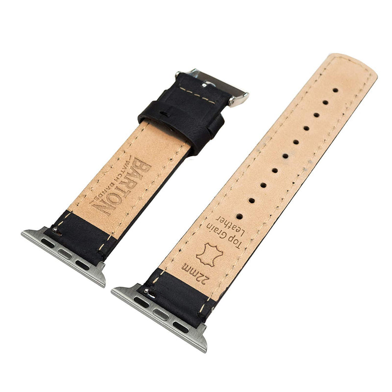 Barton Leather Watch Bands Compatible with All Apple Watch Models - Many Colors Compatible with Apple Watch, Watch 2, Watch 3 & Watch 4, 38mm, 40mm, 42mm or 44mm