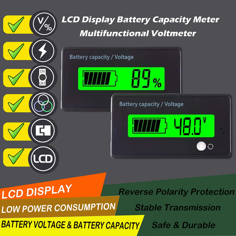Multifunctional Battery Capacity Monitor 48V LCD Battery Fuel Gauge Indicator Meter for Lead-Acid Battery Motorcycle Golf Cart Car, Green