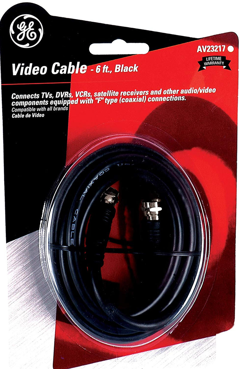GE 23217 Video Cable 6-Ft RG59 Coax with F Plugs Each End, Black