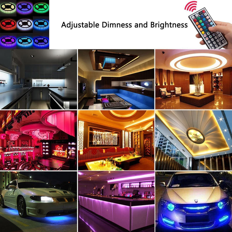 Australia SUPERNIGHT 5-Meter Waterproof Flexible Color Changing RGB SMD5050 300 LEDs Light Strip Kit with 44 Key Remote and 12V 5A Power Supply