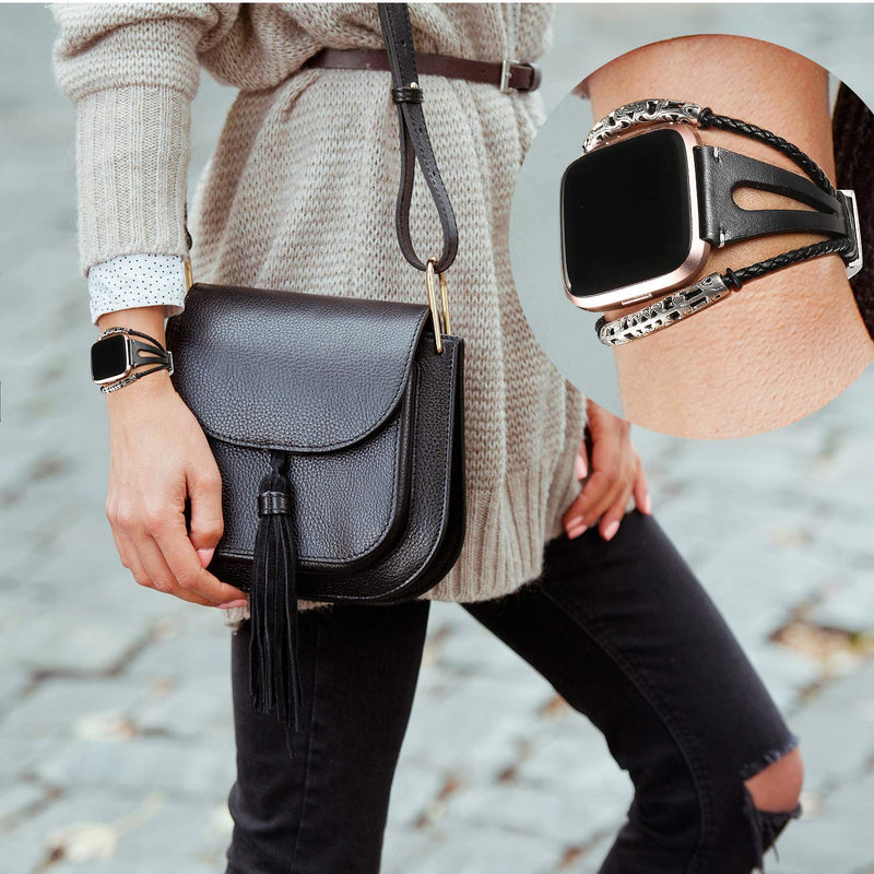 bayite Leather Bands Compatible Fitbit Versa, Handmade Wristband Replacement Bracelet Straps Women