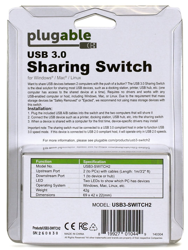 USB 3.0 Sharing Switch 1-Button Swap Between 2 Computers (A/B Switch)