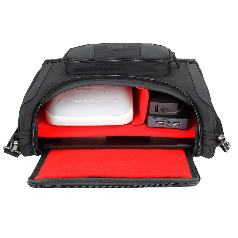 USA GEAR Portable Photo Printer Carrying Case and Compact Messenger Bag Compatible with Canon SELPHY CP1300 / CP1200 / CP900 / Ivy, Kodak Dock/Mini, Instax Share SP-3 / SP-2, HP Sprocket (Red)