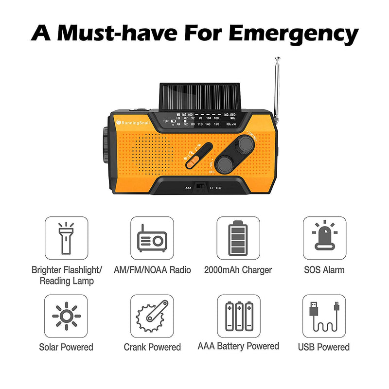 RunningSnail Solar Crank NOAA Weather Radio for Emergency with AM/FM, Orange