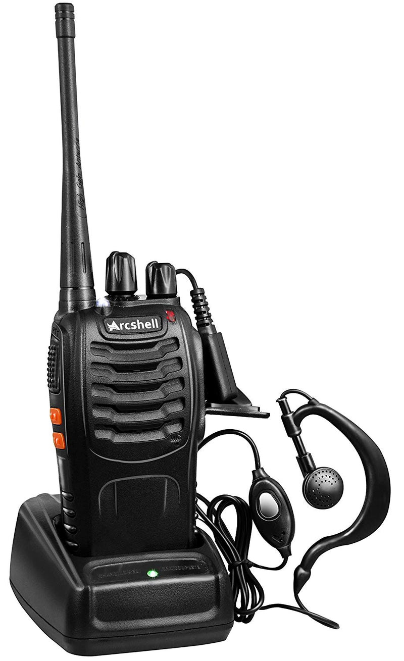 Australia Arcshell Rechargeable Long Range Two-Way Radios with Earpiece 2 Pack UHF 400-470Mhz Walkie Talkies Li-ion Battery and Charger Included