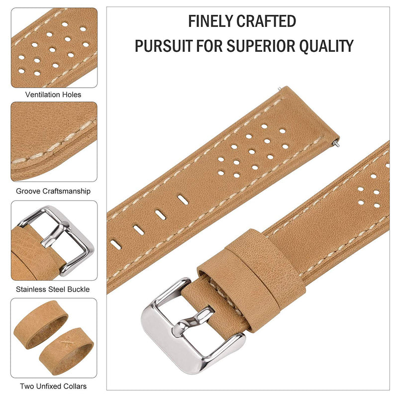5 Colors for Watch Band, Fullmosa Quick Release Breeze Leather Watch Strap 18mm 20mm 22mm 24mm
