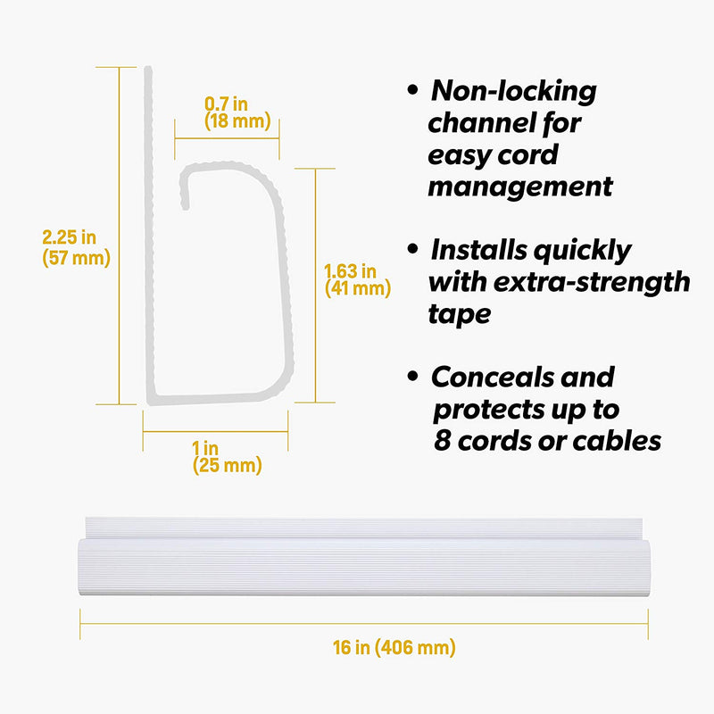 J Channel Desk Cable Organizer by Simple Cord 5 White Raceway Channels