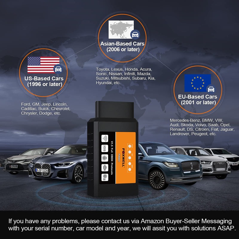 FOXWELL FW601 ELM327 WiFi OBD2 Scanner - Wireless Code Reader Car Diagnostic Tool, Read & Clear Your Check Engine Light & More for iPhone, iPad, Android&Windows - CocoonPower Australia