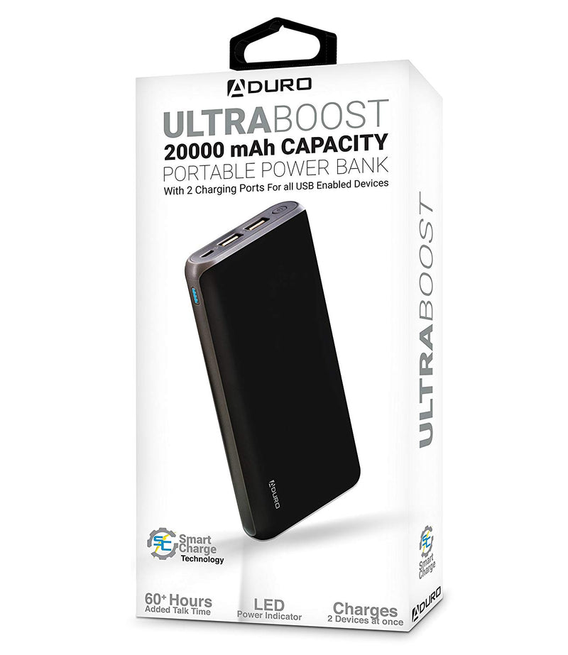 Australia Aduro 20,000mAh Battery Pack Power Bank, External Battery Charger Compatible with iPhone Android Smartphone Tablet Portable Power Backup Charges Any USB Device (Black)