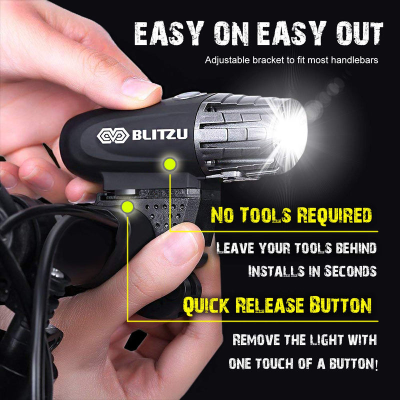 Australia BLITZU Gator 320 USB Rechargeable Bike Light Set Powerful Lumens Bicycle Headlight Free Tail Light, LED Front and Back Rear Lights Easy to Install for Kids Men Women Road Cycling Safety Flashlight