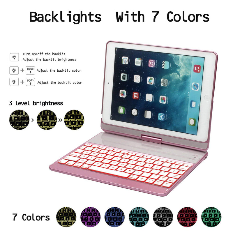 Australia iPad 9.7 Keyboard Case for iPad 2018(6th Gen)/2017(5th Gen)/iPad Pro 9.7/Air 2/Air, GreenLaw 360 Rotate 7 Color Backlit Wireless Bluetooth Keyboard Case Cover with Auto Wake/Sleep