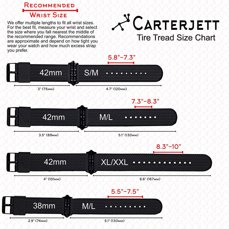 Carterjett Compatible Apple Watch Band 42mm XL/XXL Silicone Black Tire Tread Rubber Sport iWatch Band Replacement Strap Extra Large Wrists! Compatible Apple Watch New Series 3 2 1, 42 XXL Black
