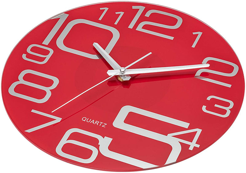 Australia Bernhard Products Red Glass Wall Clock 12-Inch Silent Non Ticking Quality Quartz Battery Operated Round Unique Modern Design
