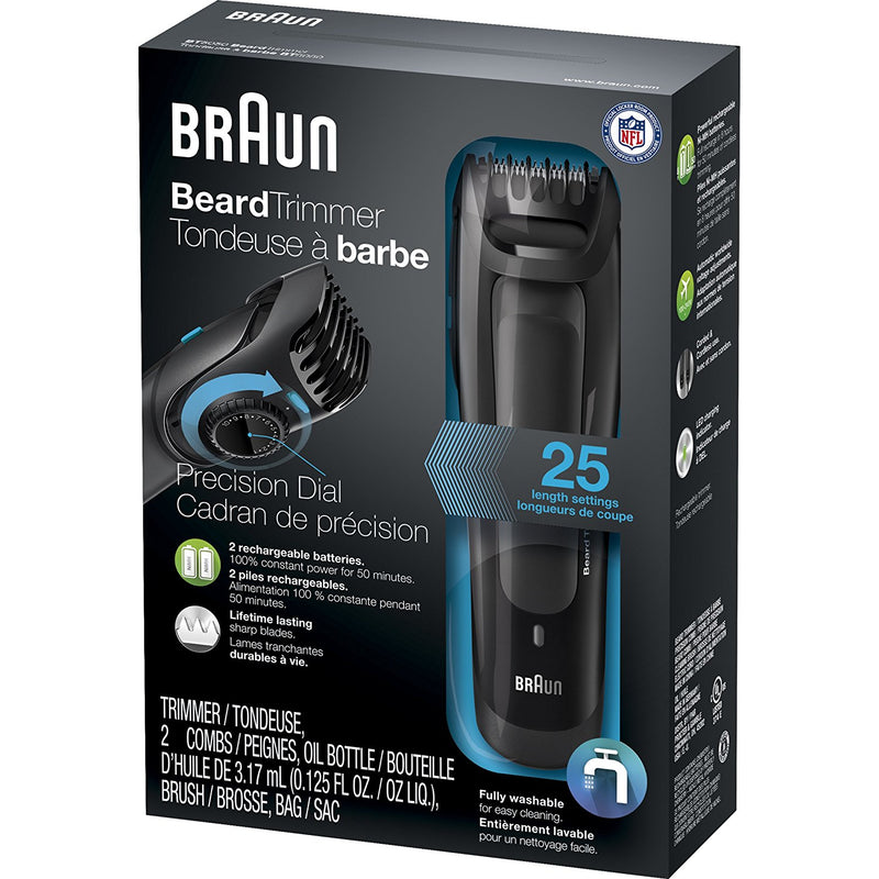 Braun BT5050 Beard Trimmer for Men with 25 Length Settings for Precision, Cordless and Rechargeable Electric Cutting Machine for Facial Hair - CocoonPower Australia