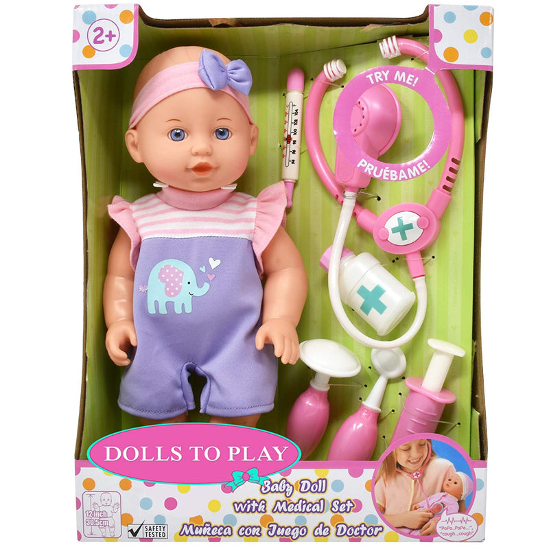 Australia Pretend Play Medical Set, Baby Doll Doctor Kit for Kids Includes 12 Inch Doll, Talking Stethoscope, Thermometer, Needle, Medicine Bottle, Stick and Hammer-Complete Accessories for Toddlers Boy Girl