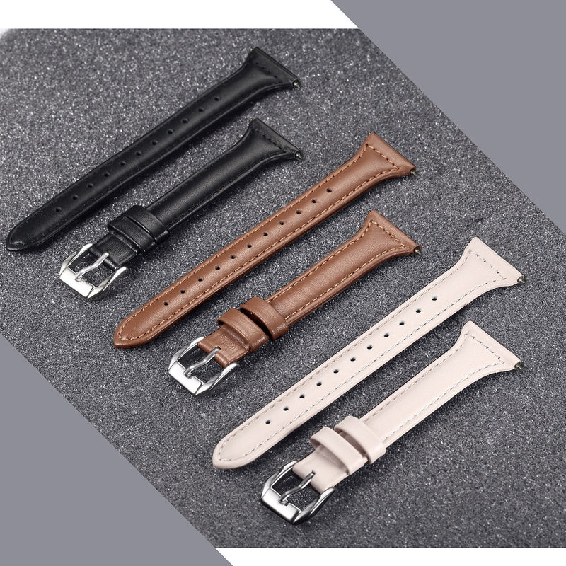 "bayite Bands Compatible Fitbit Versa, Slim Genuine Leather Band Replacement Accessories Strap Versa Women Men (5.3""-7.8"")"