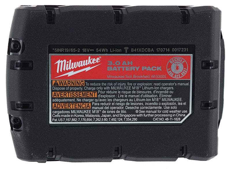 Milwaukee 48-11-1828 Genuine OEM M18 3 Amp Hour 18V Lithium Ion XC Extended Capacity Battery with Redlink Intelligence and Extreme Weather Performance