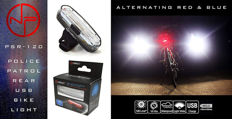 Australia Stupidbright Night Provision PS1200v2 Front & Rear Police Bike Light Set: 1200 Lumens - Rechargeable 18hr Max - Water Proof - 5 Modes - Red/Blue Strobe LED - Real Police Patrol Lights For Bicycles