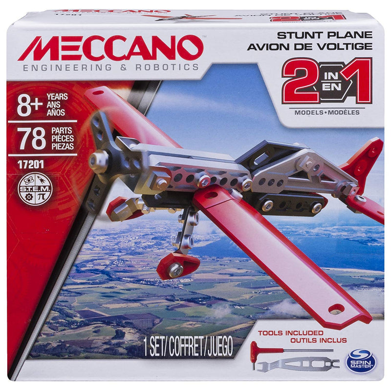 Australia Erector by Meccano, 2-in-1 Stunt Plane Model Building Kit, 78 Pieces, For Ages 8 and up, STEM Construction Education Toy