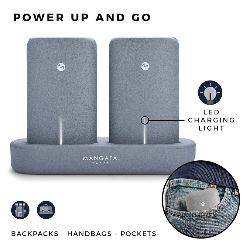 Australia Mangata Orbit [Power-Bank 10000-mAh Portable Charger] Wireless Charging Station | 2-Pack 5000 mAh Fast Charge Battery for iPhone, Android Cell Phone, Graphite Grey