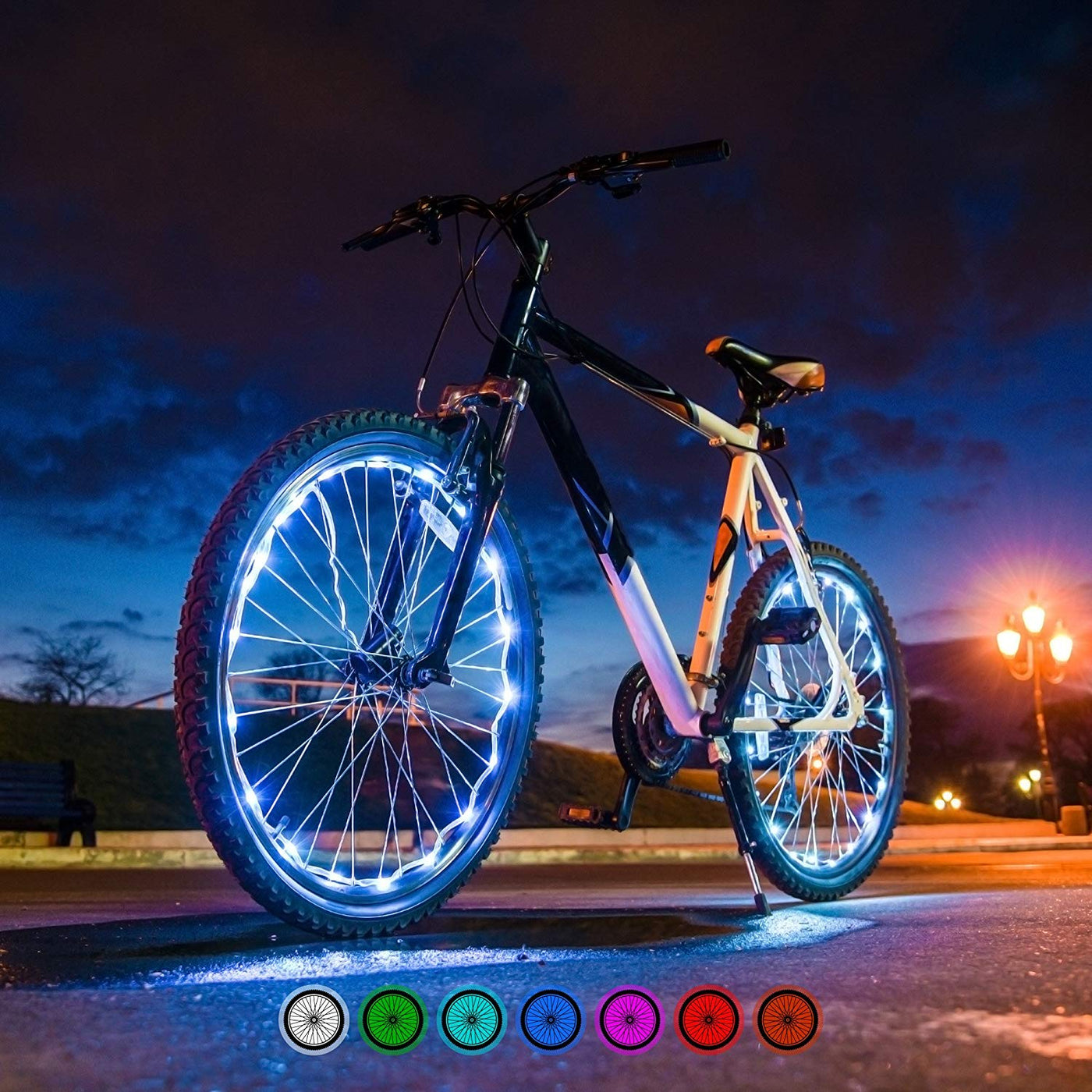 7 Colors in 1 Bright Spokes Premium LED Bike Wheel Lights USB Rechargeable