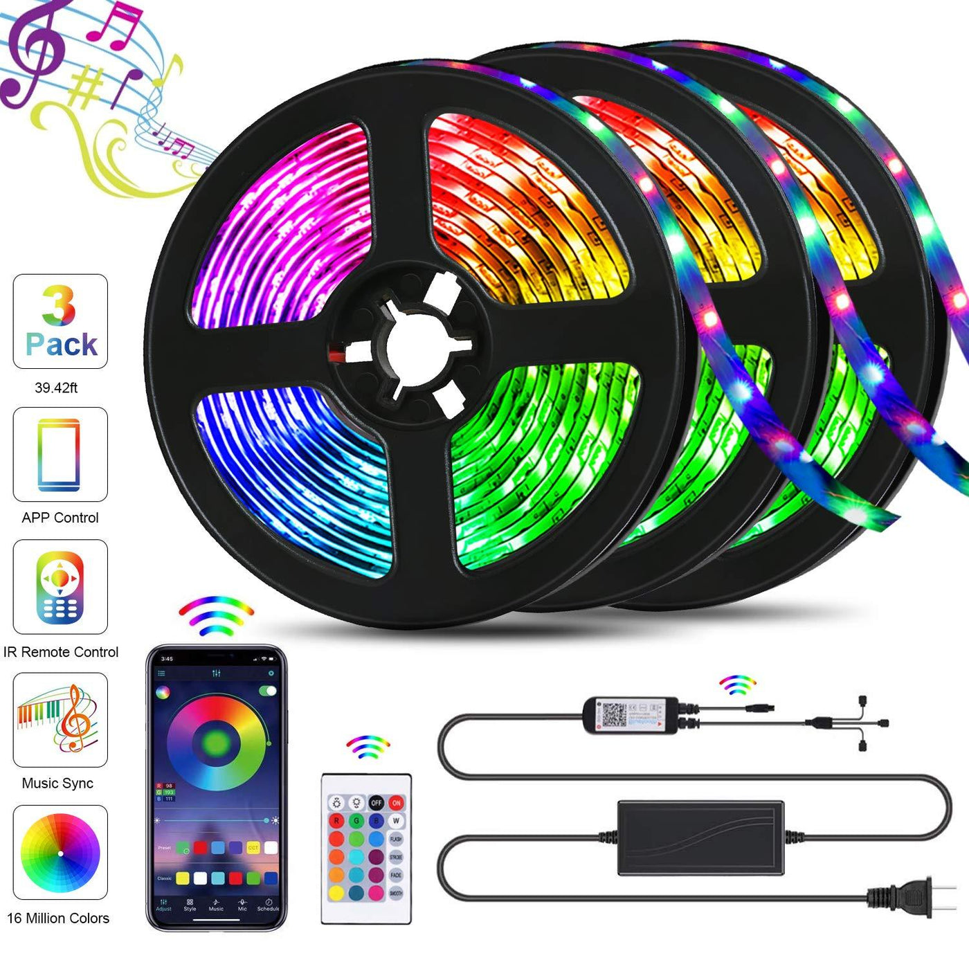 RGB Remote Control LED Light Pack of 4  16 Colour changing modes 21 Key remote