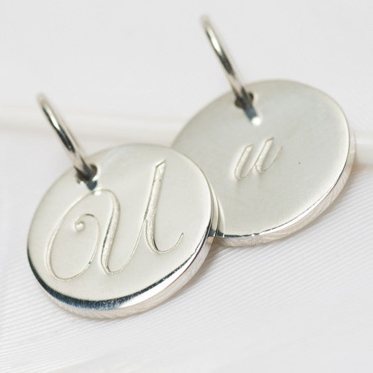 Letter U Petite Initial Charm (2 Sided)