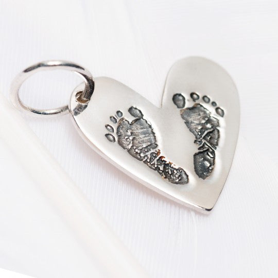 Baby Footprints Heart Charm