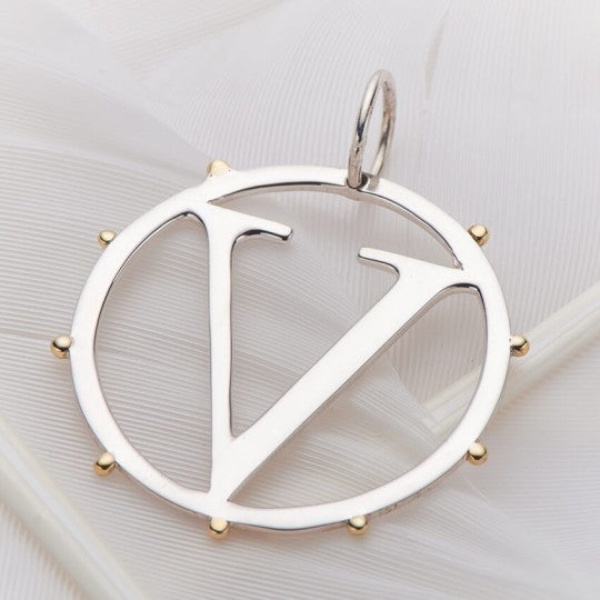PALAS JEWELLERY | V Cut Out Initial Charm