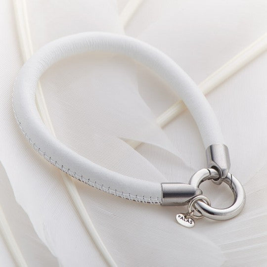PALAS JEWELLERY | White Leather Ring Bracelet