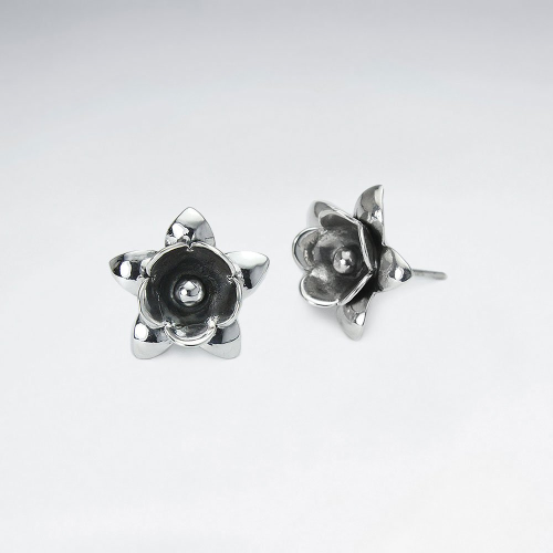KAREN SILVER | Plain Black Flower Earring