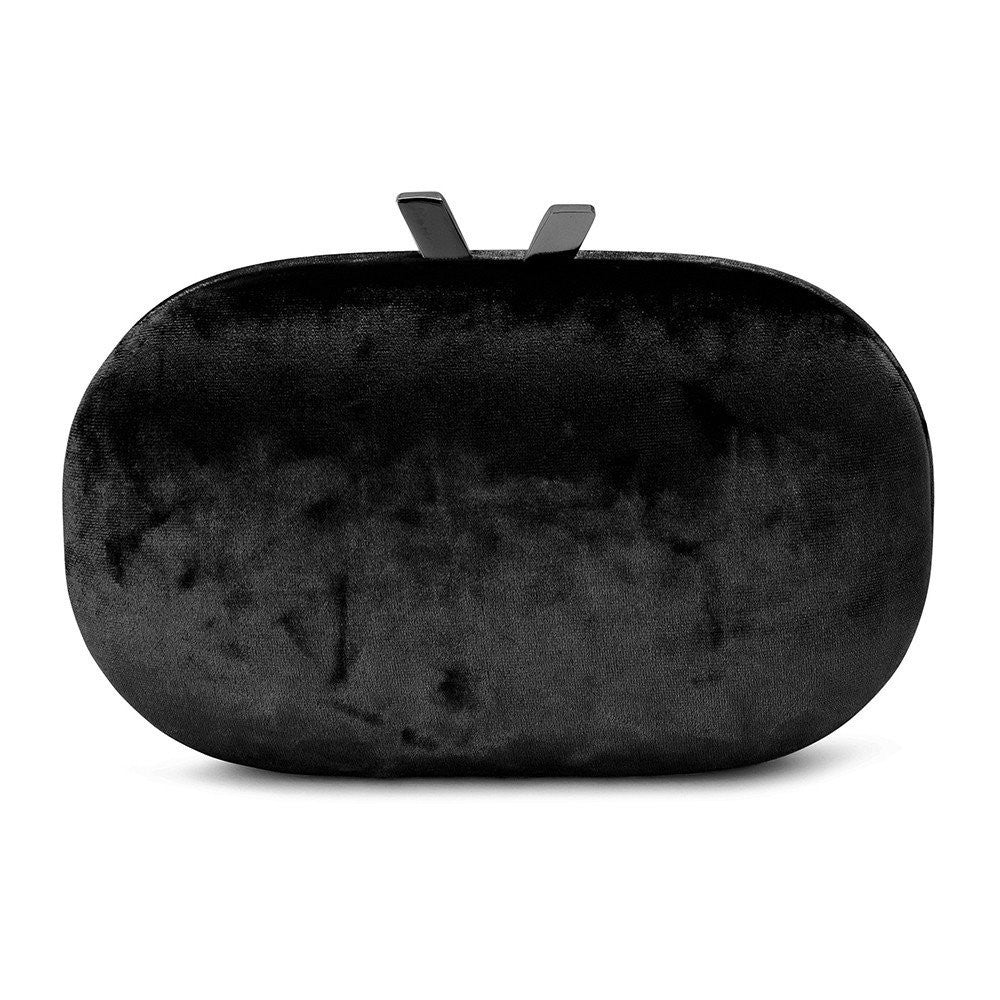 OLGA BERG | Phebe Velvet Oval Clutch Black