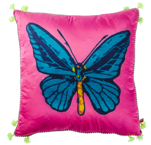 RUBY STAR | Butterfly Jewel Silk Cushion
