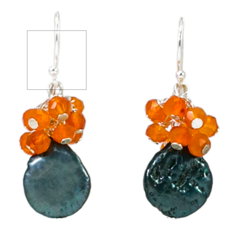 RILEY BURNETT | Orange Cluster Drop Earrings