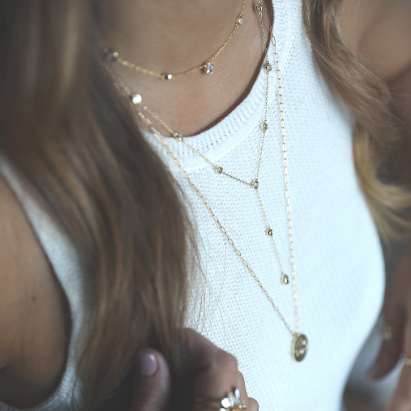 Gold Lariat y necklace layering necklace