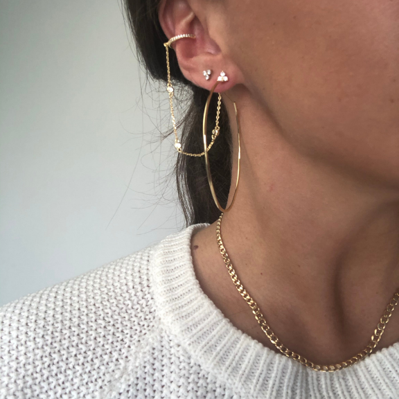 Callie Hoops Nikki E Designs lightweight gold wire hoops black friday sale tribe & co ear stack