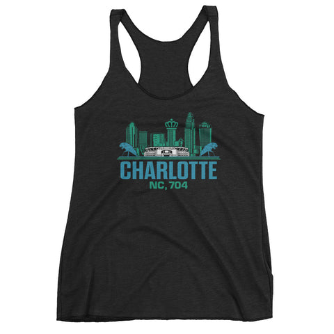 Charlotte, NC 704 Racer-back Tank Top | 9th Wave Apparel