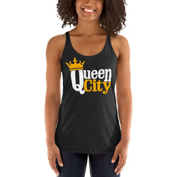 Queen City, NC Women's Racerback Tank | 9thwavepparel - 9thwaveapparel