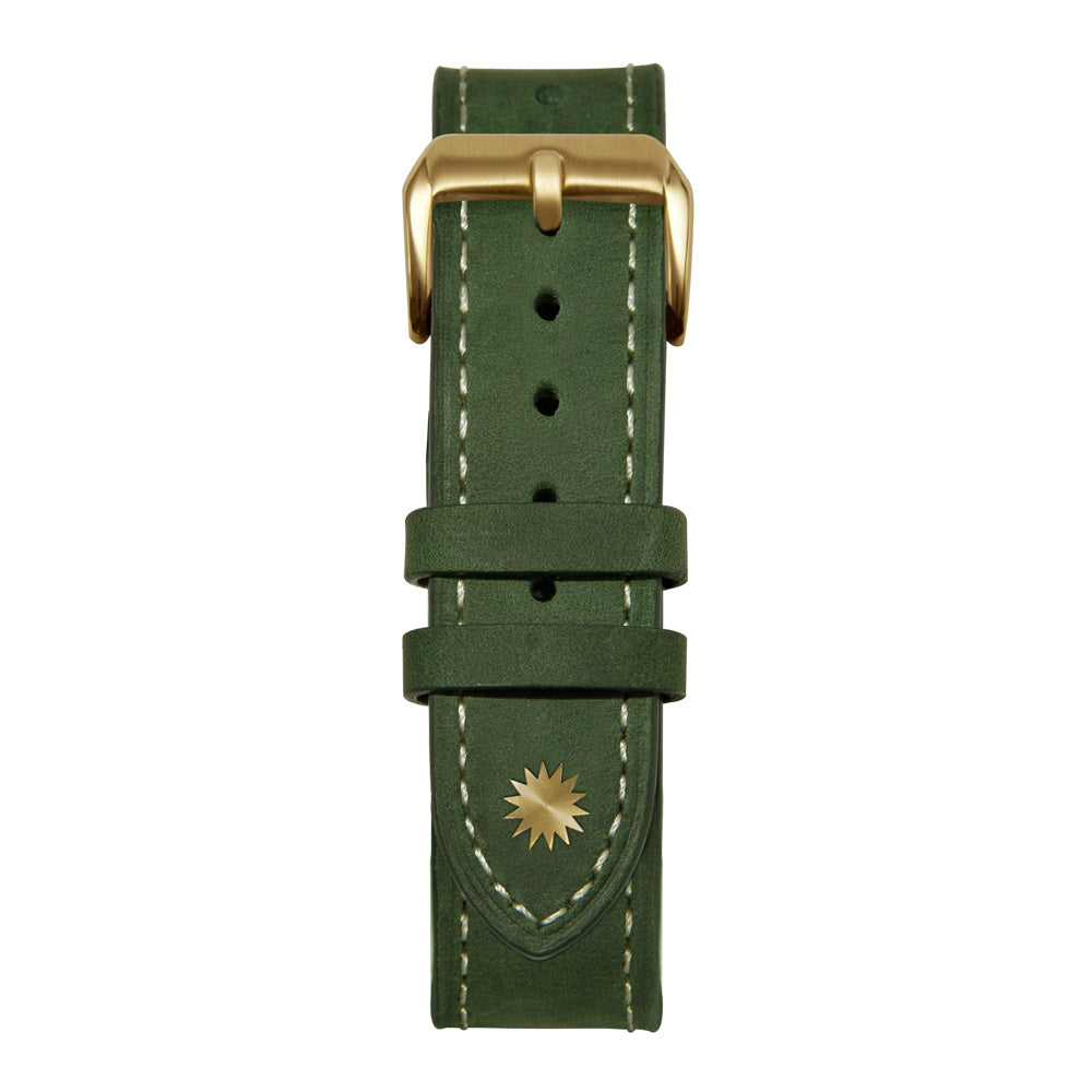 18' Green and White Leather Strap