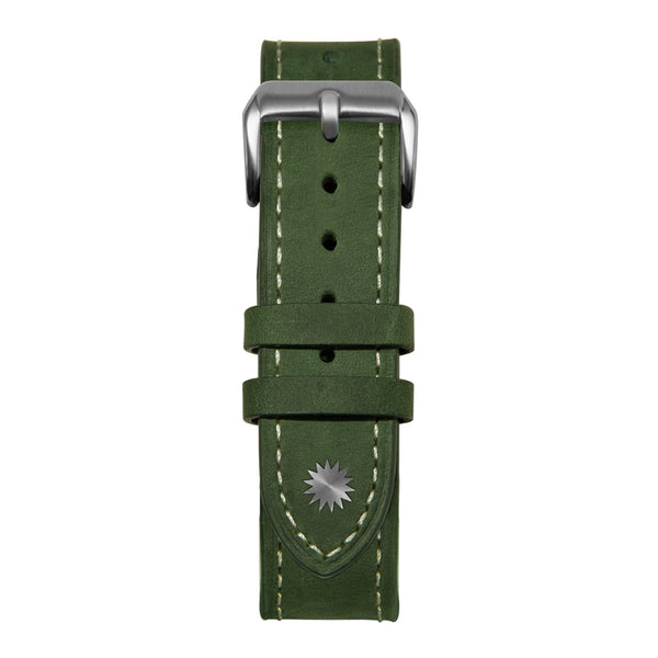 20' Green and White Leather Strap