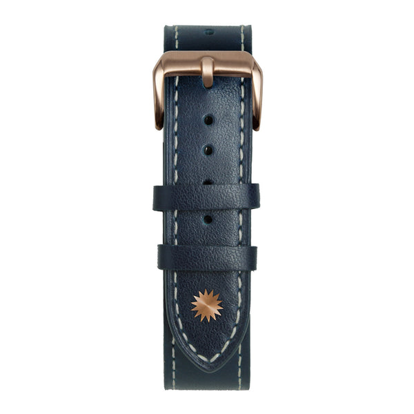 20' Blue and White Leather Strap