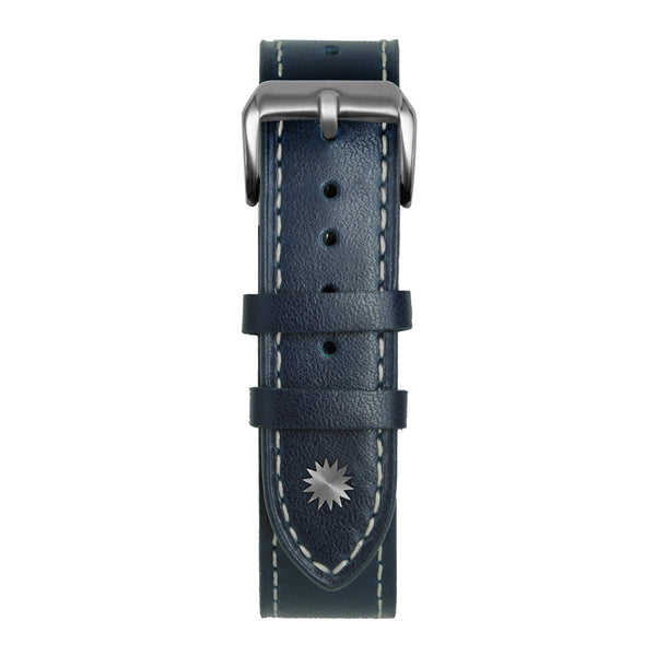 22' Blue and White Leather Strap