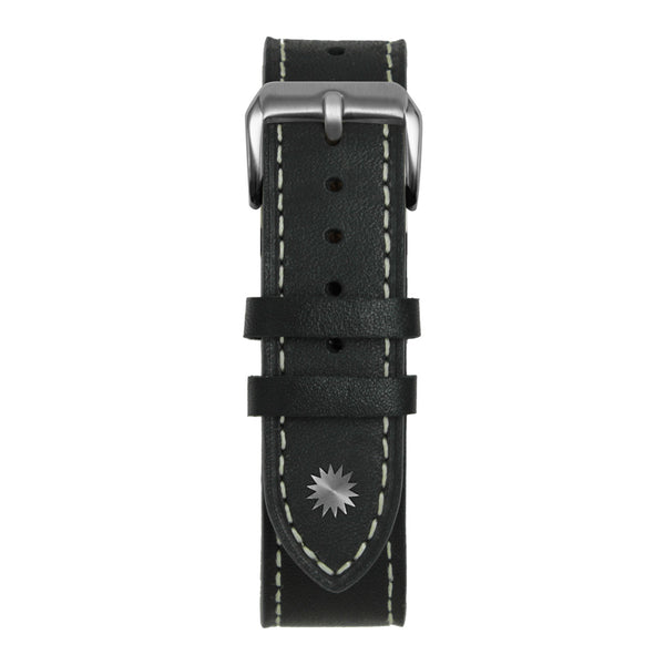 22' Black and White Leather Strap