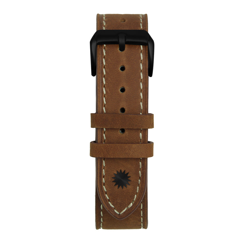 22' Brown and White Suede Leather Strap