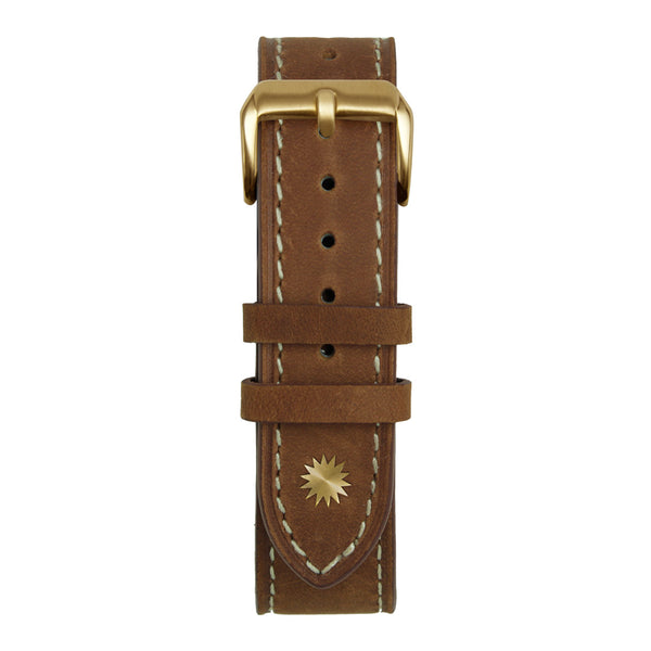 20' Brown and White Leather Strap