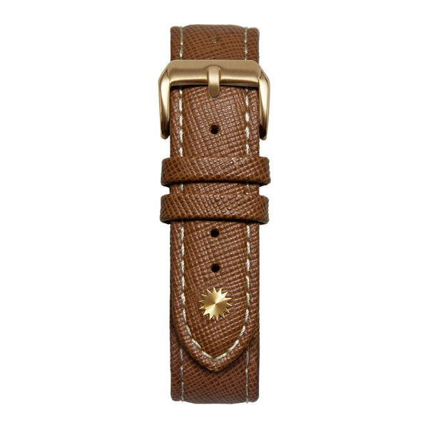 20' Light Brown and White Saffiano Leather Strap